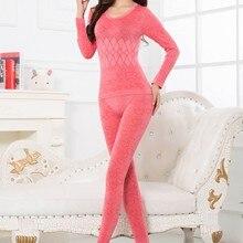 Nueva ropa interior térmica cálida para mujer Calzoncillos largos de manga larga conjuntos de ropa interior térmica