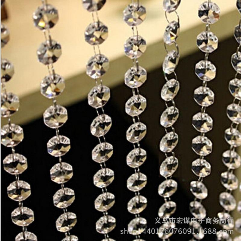 Lustre en perles de cristal acrylique irisé 12M   Guirlande claire avec brin de diamants, décoration de réception de mariage