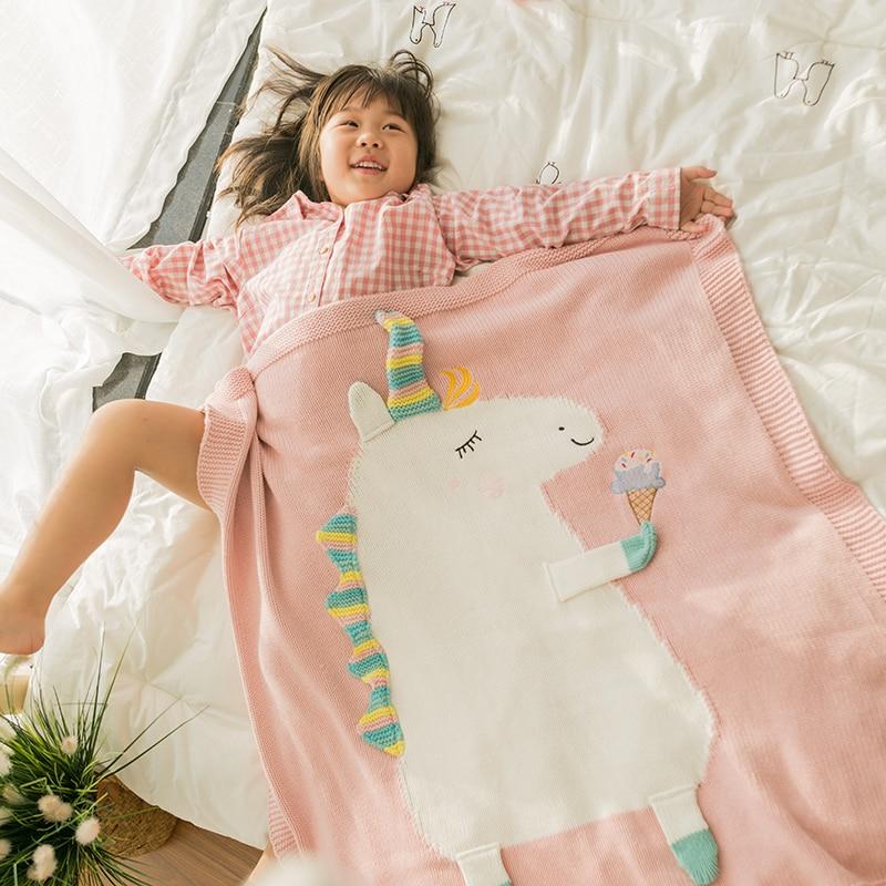 60cm*110cm Cartoon Flamingo Deer Unicorn Animal Cute Baby Throw Blanket Sofa Bed Travel Plaids Wool Thread Blanket Children Gift