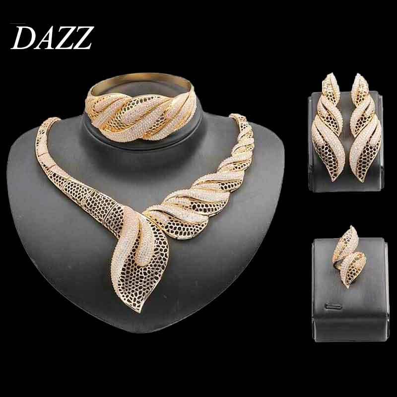 Dazz 4 Uds conjunto de joyería clásica de boda circón cúbico de boda para mujeres africanas compromiso Dubai novia de lujo anillo grande brazalete de regalo 2019
