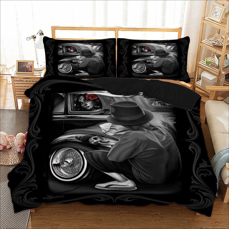 ثلاثية الأبعاد مجموعة غطاء لحاف الجمجمة القوطية مثير سيارة امرأة طقم سرير زهرة الورد مزدوجة الملكة الملك واحدة التوأم حجم المفارش للبالغين
