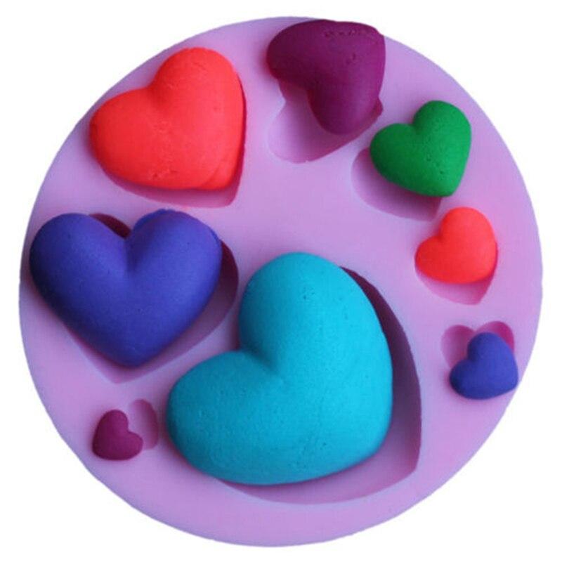 Recién llegado, DIY 3D, corazón, molde de silicona para Fondant, decoración de tartas, artesanía, azúcar, Chocolate, molde