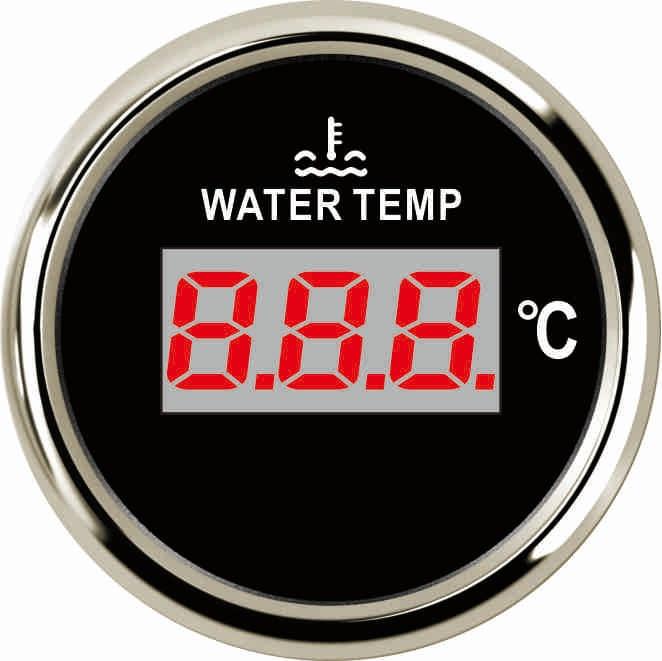 "Indicador de temperatura de agua Digital Universal de 2 "", medidor de temperatura de 40-120 para automoción, motocicleta, coche, barco, yate de 12V 24V con luz trasera roja"