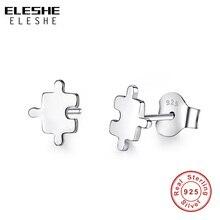 ELESHE Cute Cartoon Toys Mini jigsaw Puzzle Stud Earrings for Women 925 Sterling Silver Geometric Small Earrings Fashion Jewelry