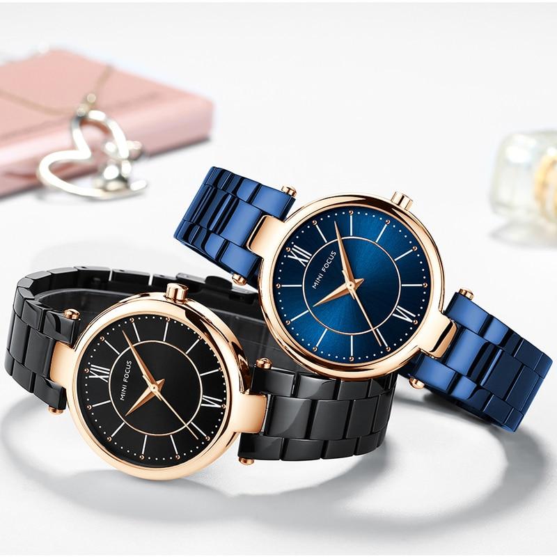 MINIFOCUS Top Brand Luxury Ladies Wrist Watch New Blue Fashion Female Stainless Steel Rose Gold Quartz Women Watch Montre Femme enlarge