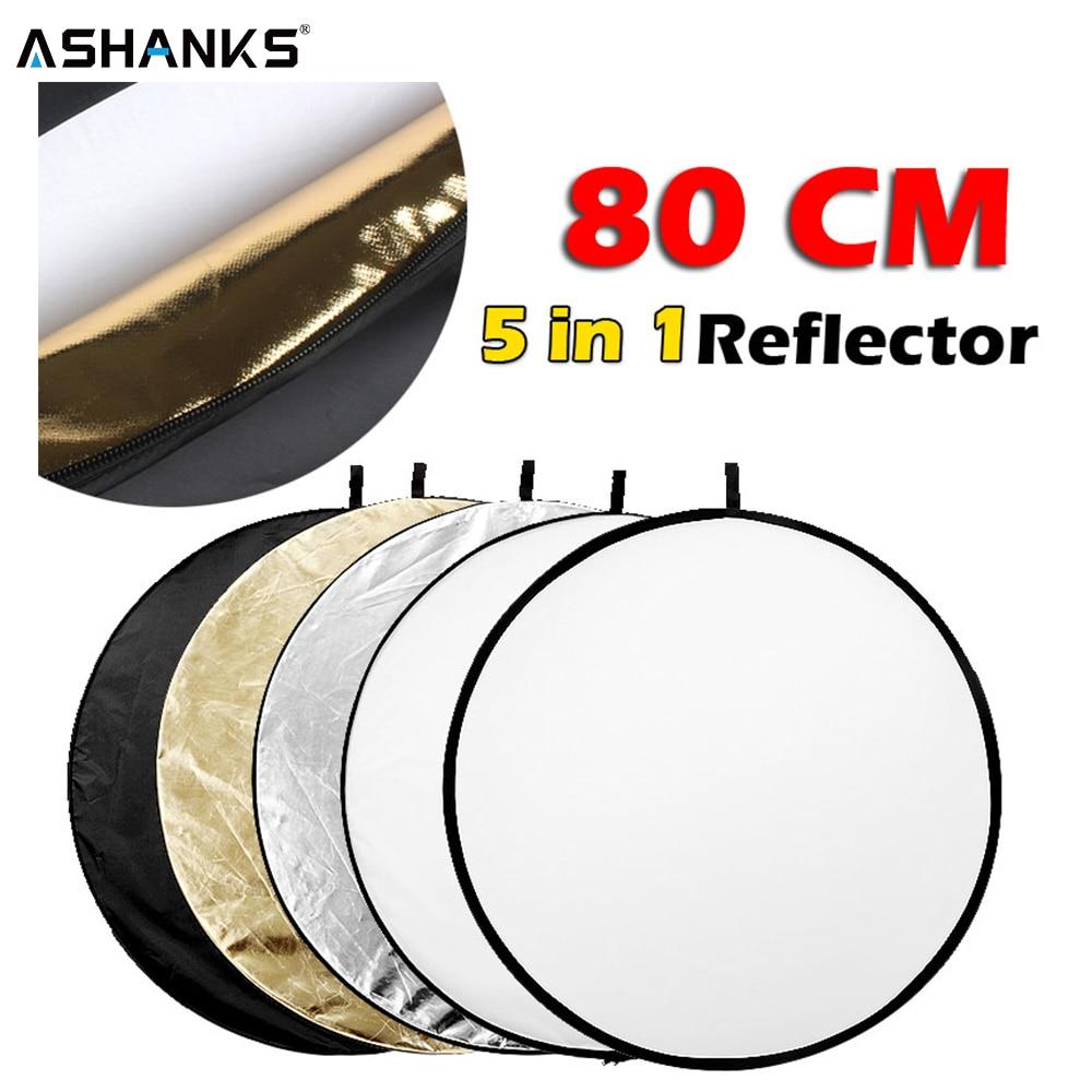 """31.5 """"80 cm 5 em 1 luz dobrável portátil fotografia redonda refletor para estúdio multi foto"""