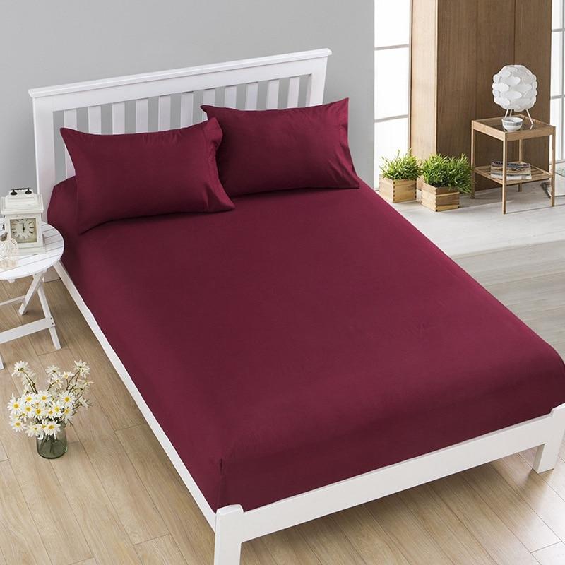 Sábana bajera de Color liso, funda para colchón, cuatro esquinas con banda elástica, Sábana de poliéster para cama doble, ropa de cama tamaño King Sheets