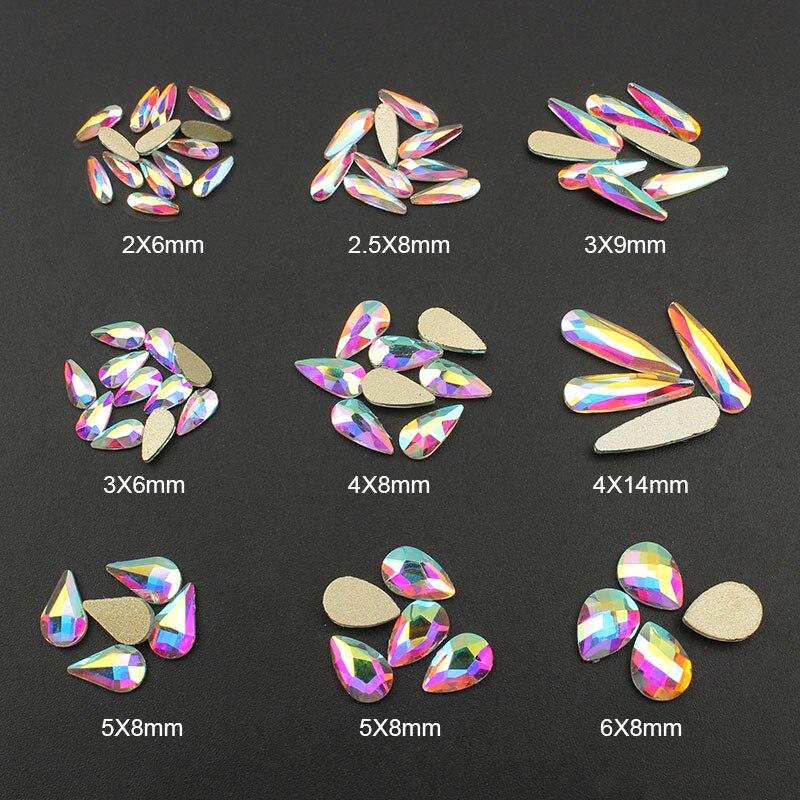 Moda Cristal AB 30/100 unids/lote 3D Nail Art gota de agua larga en forma de fantasía piedras de cristal coloridas para decoración para uñas 3D
