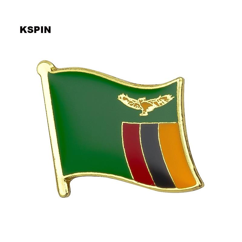 Bandera de Zambia pin de solapa insignias para prendas de vestir Rozety Papierowe icono mochila KS-0214