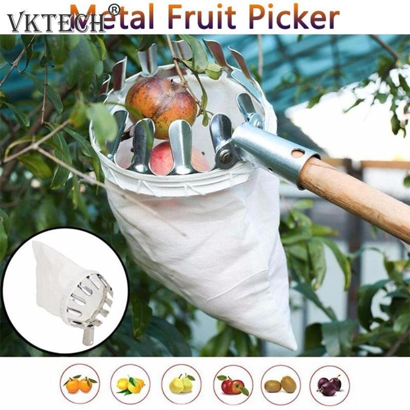 Culegător de fructe din metal, grădinărit în grădină, unelte pentru culegerea copacilor cu piersici de măr, colector de fructe, unelte de grădinărit