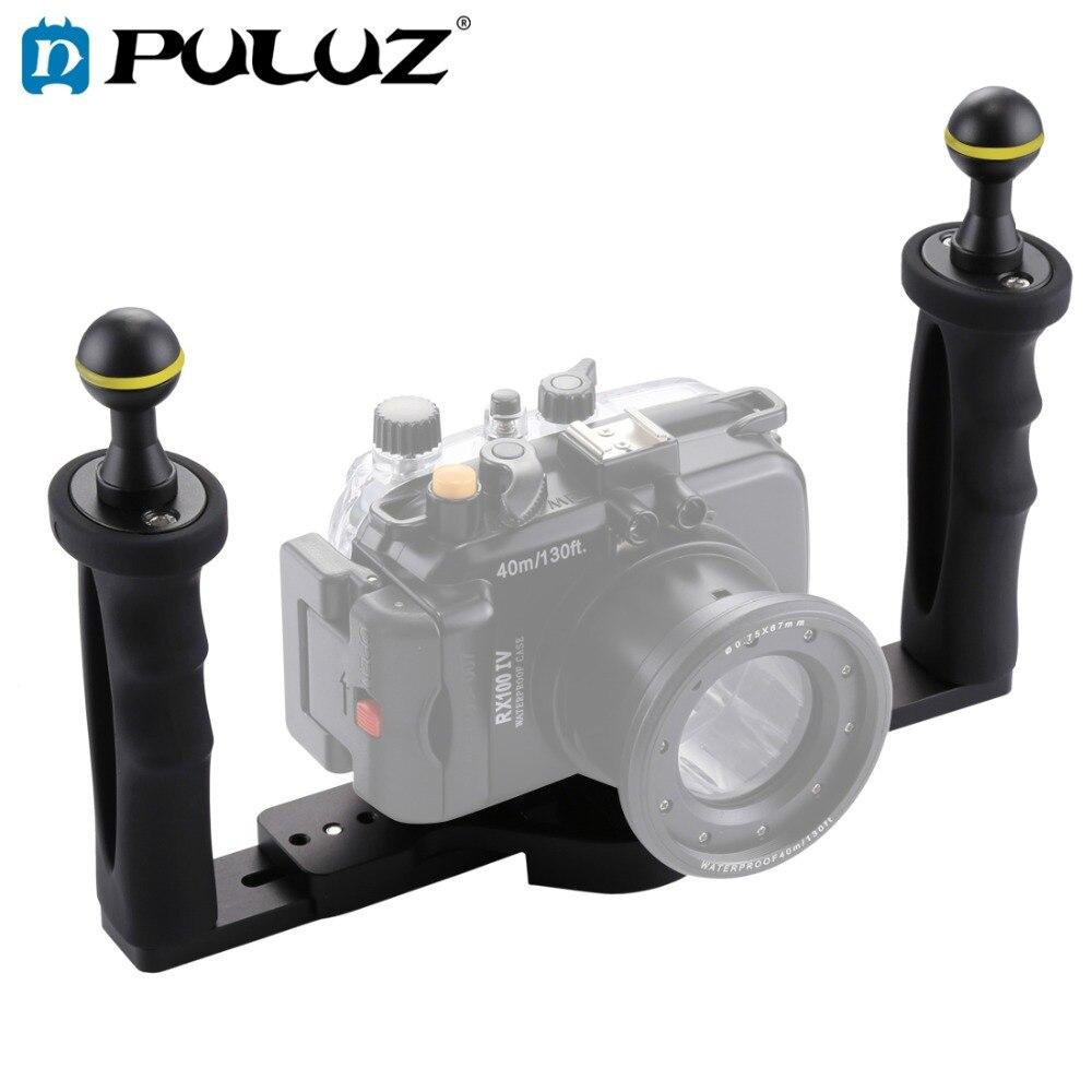 Bandeja estabilizadora de aluminio de doble mango PULUZ para cámara subacuática funda carcasa CÁMARA DE BUCEO bandeja de montaje para GoPro Smartphone