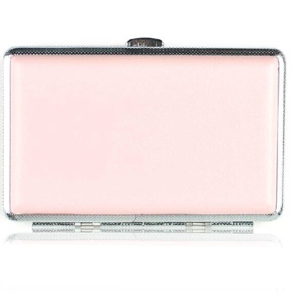¡Novedad! 1 Uds. Caja de cigarrillos larga ultrafina auténtica de cuero rosa para mujer (con capacidad para 20)