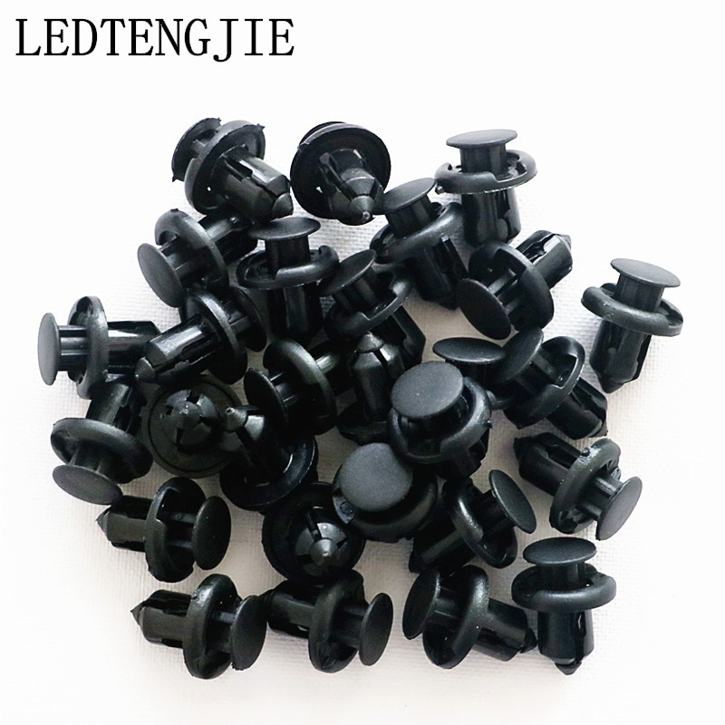 LEDTENGJIE 100 Uds. Clips de remaches de plástico de tipo negro para Panel de puerta guardabarros LinerAuto Clips de parachoques de coche retenedor sujetador