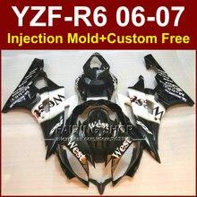 Kits de caraux de moto personnalisés pour YAMAHA   Noir ouest blanc YZFR6 2006 2007 YZF1000 YZF R6 06 07 ABS