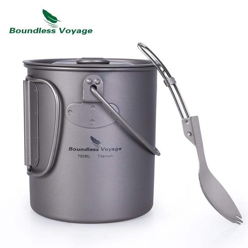 Boundless Voyage Outdoor Titanium Cup Mug Pot Spork Set with Lid Folding Handle Camping Hiking Picnic Ultralight Tableware 750ml