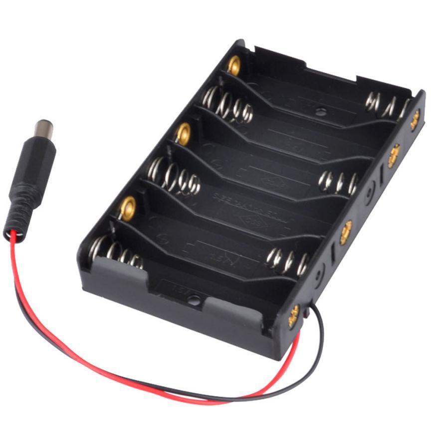 Nuevo 6 x caja de pilas AA soporte de almacenamiento con conector de alimentación DC2.1 para Arduino drop shipping oct27