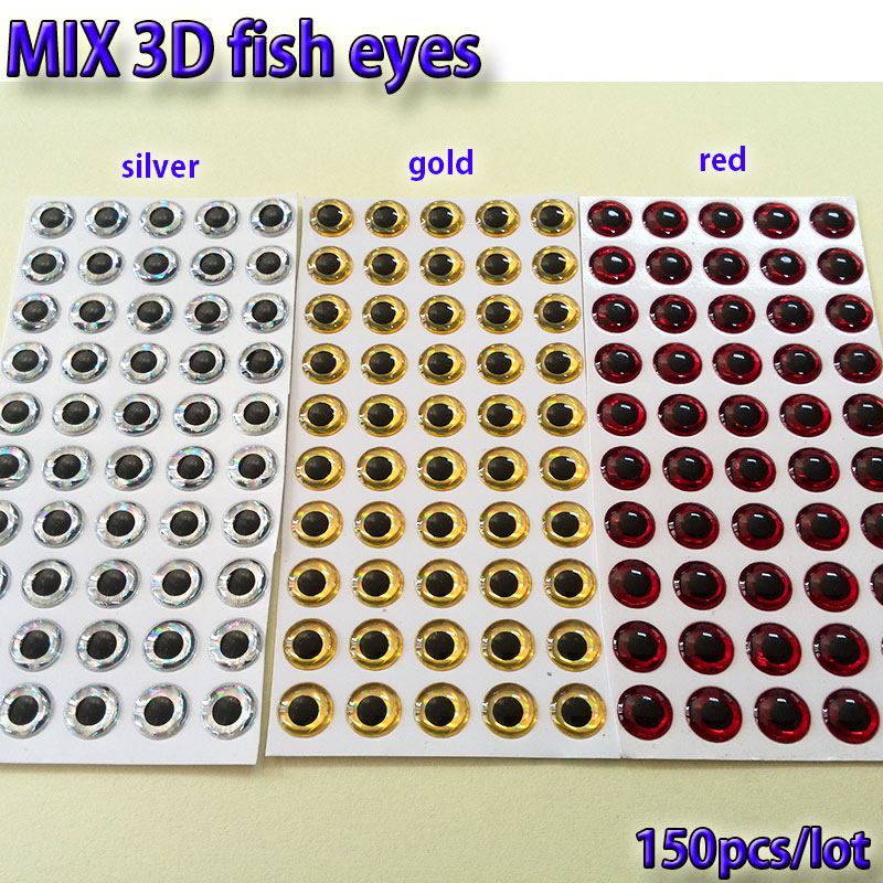 2019MIX señuelo con ojos mosca para pescar ojos de hacer moscas material, cebo anzuelos fabricación plata + oro + rojo mezcla toatl 150 unids/lote