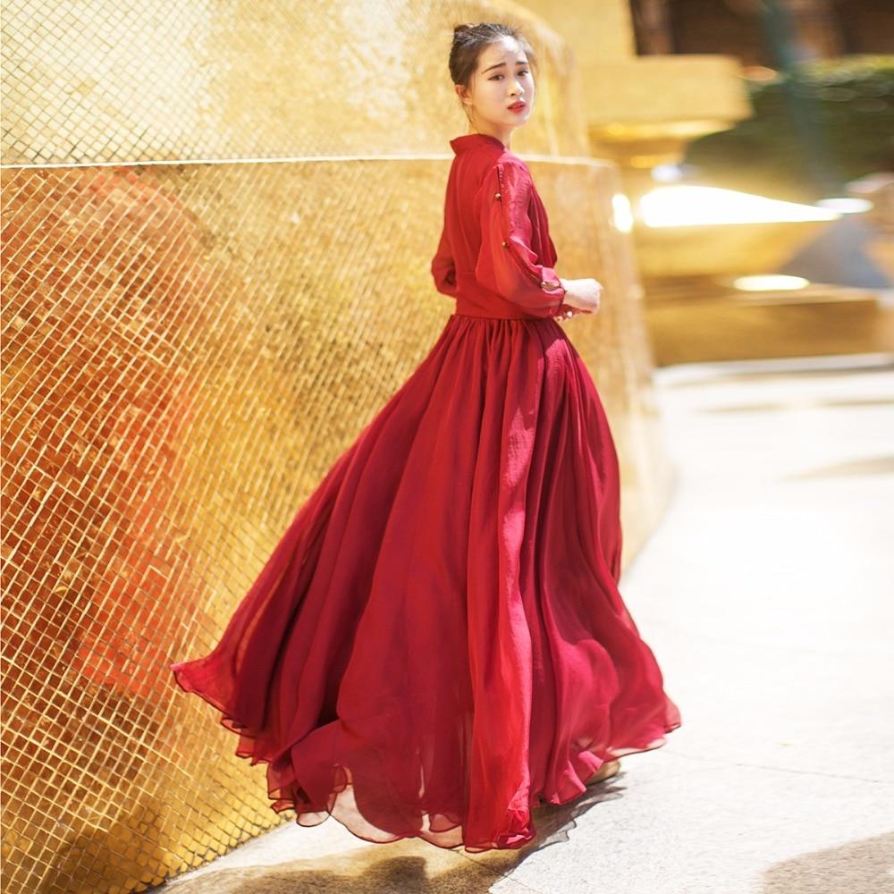 MM003 2020 Summer vintage elegant flowing chiffon V neck three quarter sleeve long beach dress women