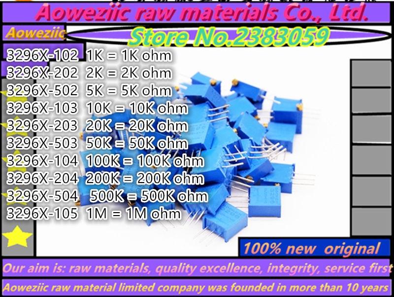 Aoweziic 10piece  3296X   1K  2K  5K  10K  20K  50K  100K  200K  500K  1M ohm potentiometer