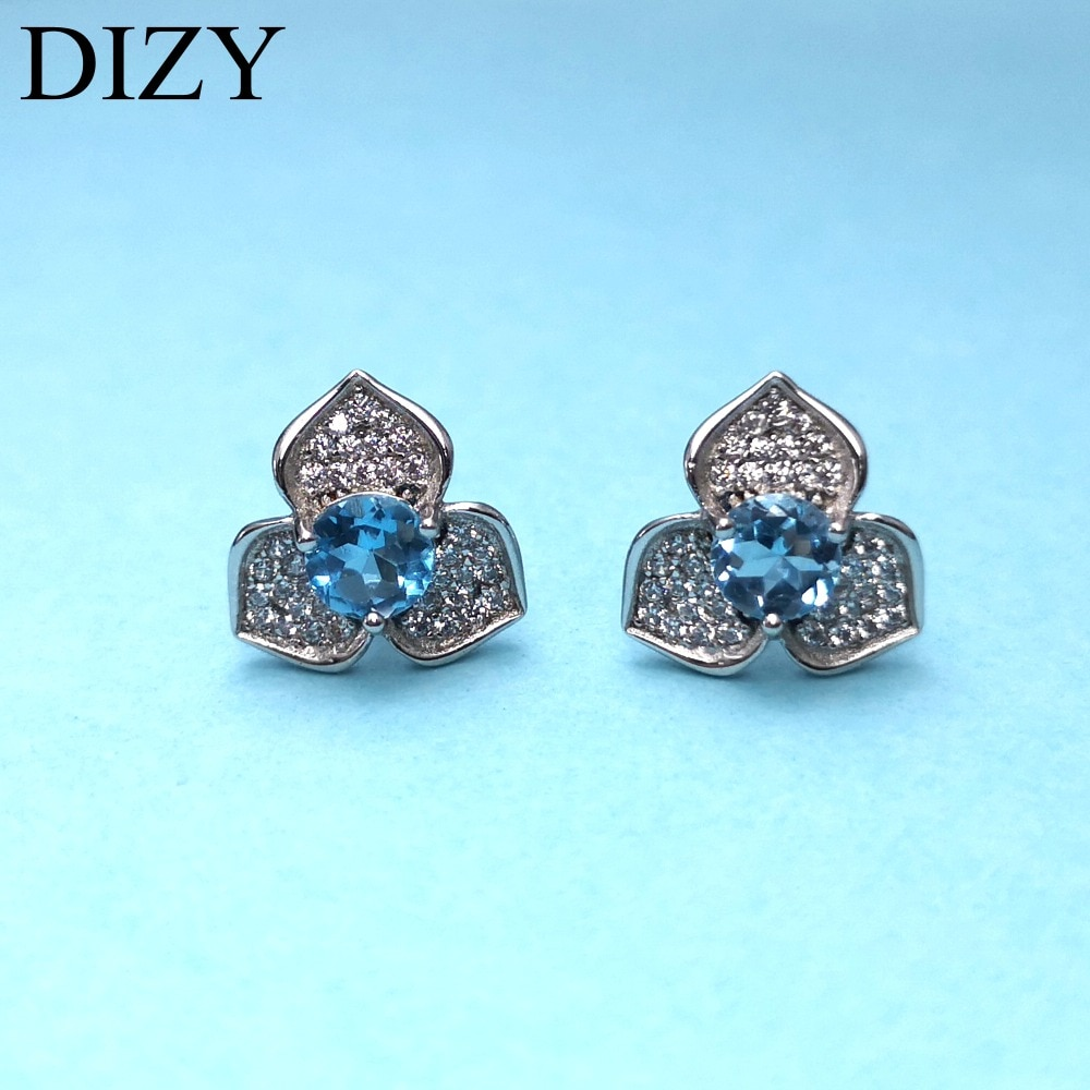 Dizy 925 brincos de prata esterlina para a menina natural azul topázio pedra preciosa noivado jóias presente casamento