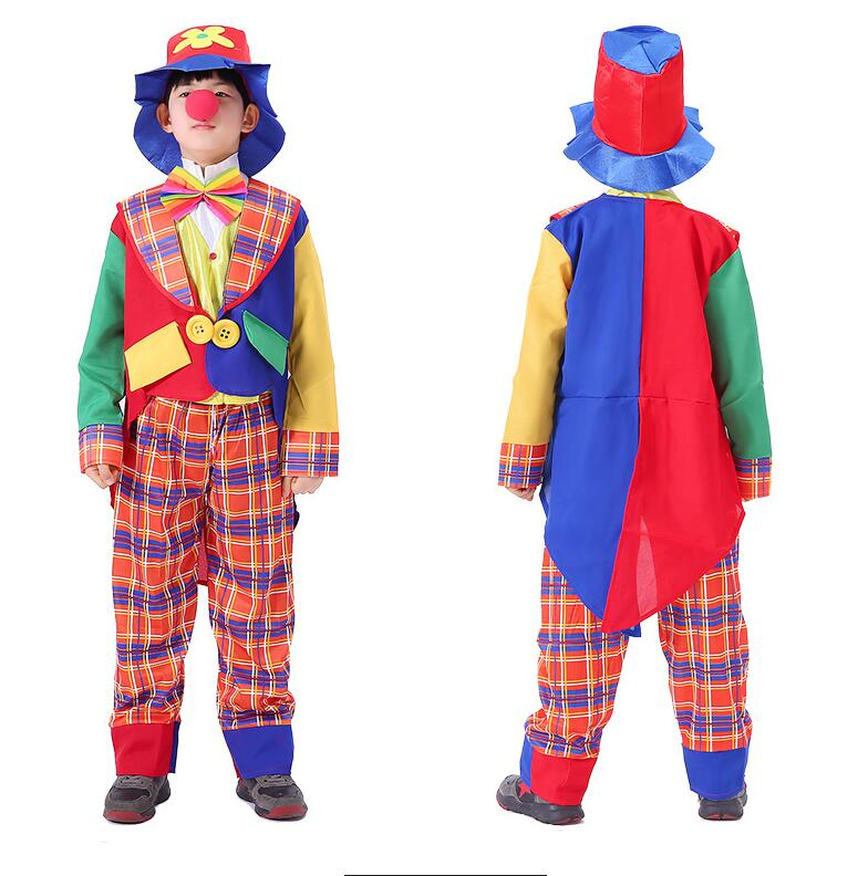 free shipping halloween children s clown costume masquerade performance clothing stage circus clown comedy costume boy cosplay 2019 Halloween Costumes Kids Children Big Top Circus Clown Costume Naughty Fancy Fantasia Infantil Cosplay for Boys Girls