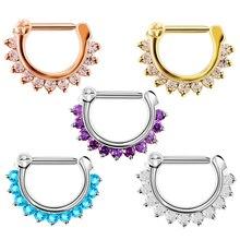 1 PC acier inoxydable coloré cristal gemme Tribal articulé nez Septum Clicker mamelon oreille manchette Piercing anneau charmant bijoux 16g