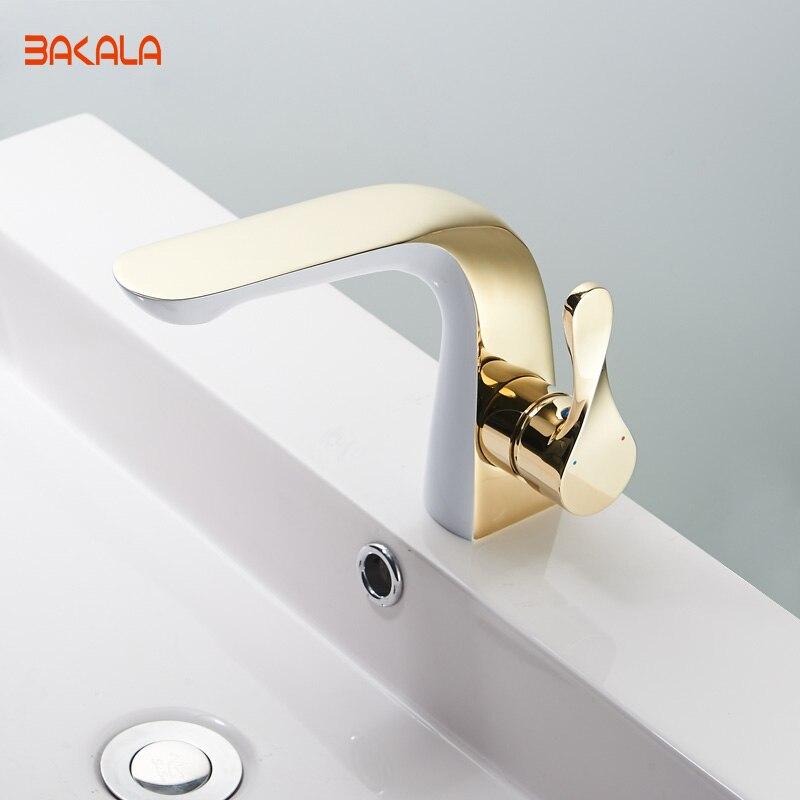 BAKALA الفاخرة جديد تصميم الذهب النحاس الحمام المياه الحنفية واحدة مقبض حفرة واحدة الحمام صنبور FA-5902