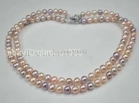 aa natural mixed 2 rows pinkpurple freshwater pearl necklace 7 5 8mm