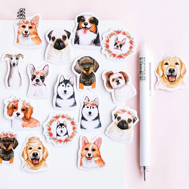 46 pcs Kawaii Bulldog Dog Pet Golden Retriever Husky Supples Escolares Papelaria Adesivos Álbum Srapbooking DIY Etiqueta Adesiva