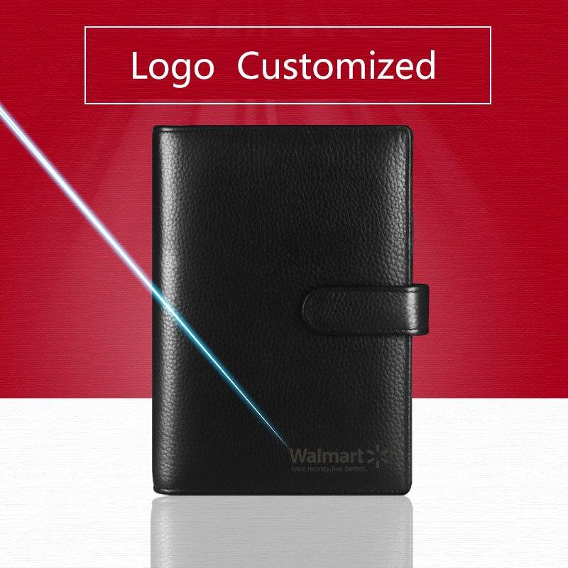 Genuine Leather Logo Custom A4 Notebook Cowhide Travelers Loose leaf Office Writing Pads Diary Rings Binder