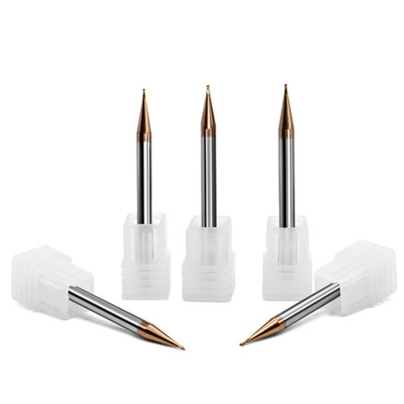 5 pçs/set 55HRC 0.2/0.4/0.5/0.6/0.8/0.9mm comprimento 50MM 2 Flauta fresa CNC TiXCo 2 Flautas Revestido Metal Duro Micro Fresa