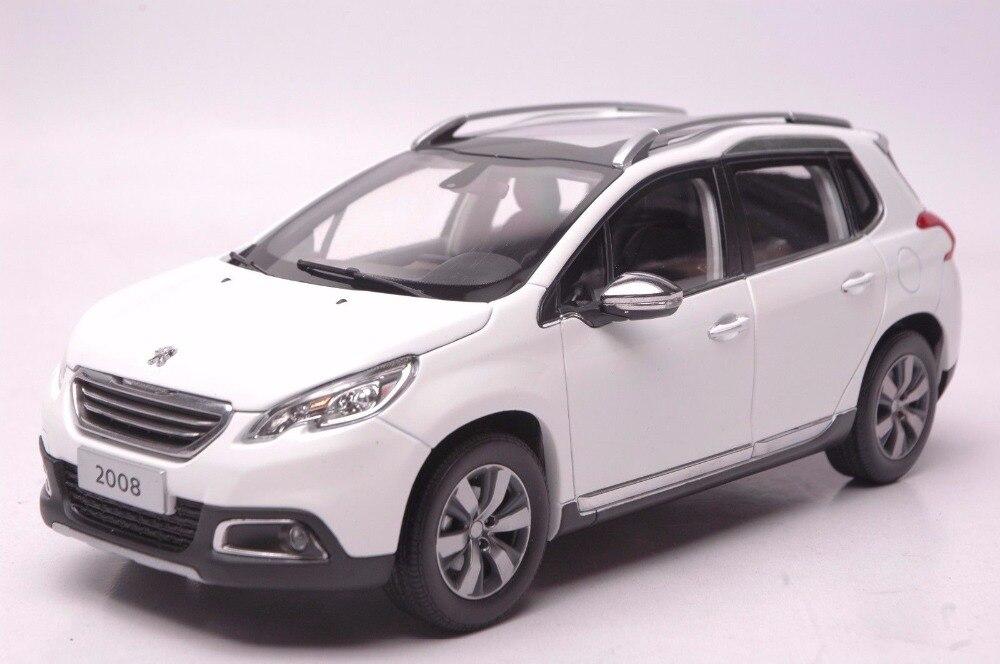 نموذج سيارة مصغر من السبائك المصبوب ، لعبة سيارة بيجو 2008 ، سيارات الدفع الرباعي البيضاء ، مقياس 1:18