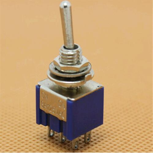 10 pcs 202 MTS Mini toggle switch ON-ON rocker switch 6 pinos interruptor de alavanca 6mm