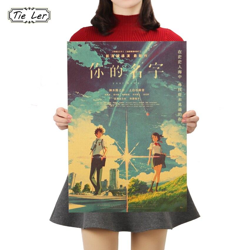 TIE LER su nombre animé japonés arte de la película papel Kraft Poster Bar Café pegatina de pared decoración del hogar pintura 50,5x35 cm