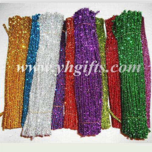 1000 pièces/LOT.10 bâtons de tinsel de Chenille de couleur, tiges de paillettes, bâtons de paillettes, matériel dartisanat, artisanat de jardin denfants, 0.6x30 cm, vente en gros