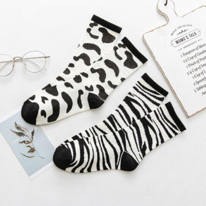 Korean Retro Socks Female Fashion Trend Black White Casual Cow Zebra Socks Hip Hop Skateboarding Sports Casual Tide Socks White
