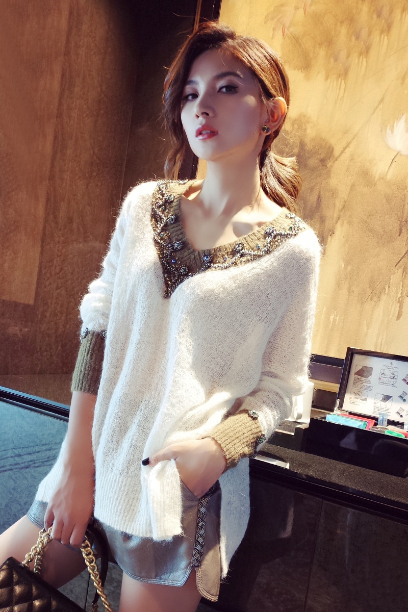 2020 Regular Poncho Computer Knitted Jumper Women Sweaters And Pullovers New Woman Sweater Loose Hollow Wool Jacket Head Beads enlarge