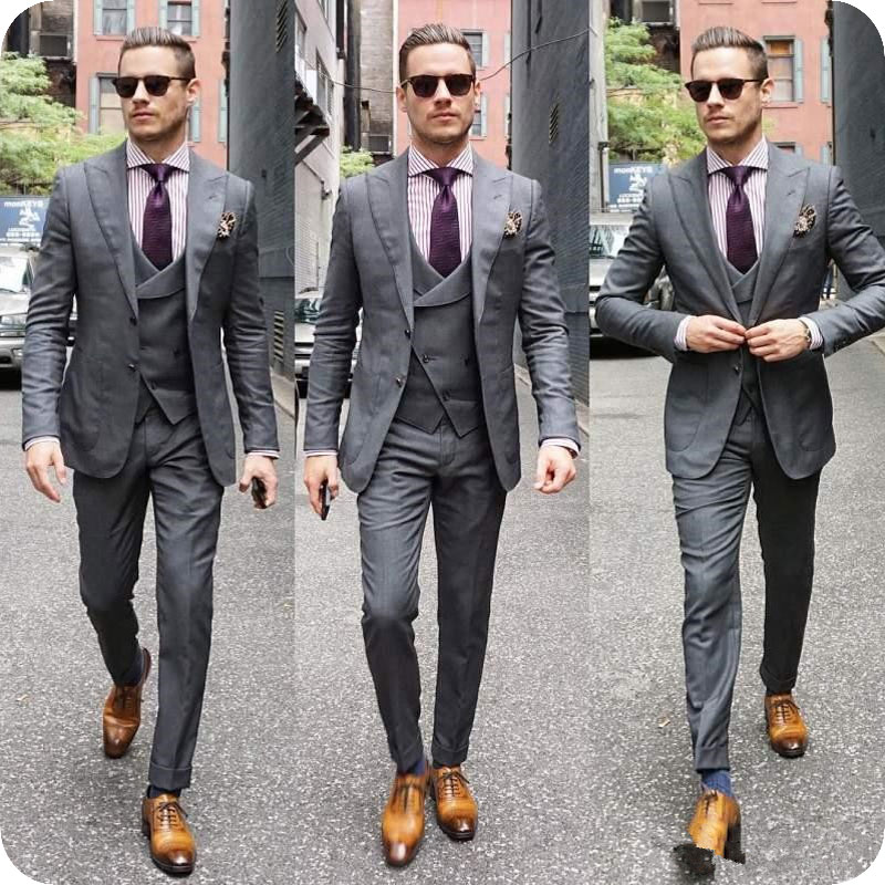 Italian Grey Mens Wedding Suits Double Breasted Man Blazers Jacket Wide Peaked Lapel 3Pieces Custom Made Groom Tuxedos Ternos