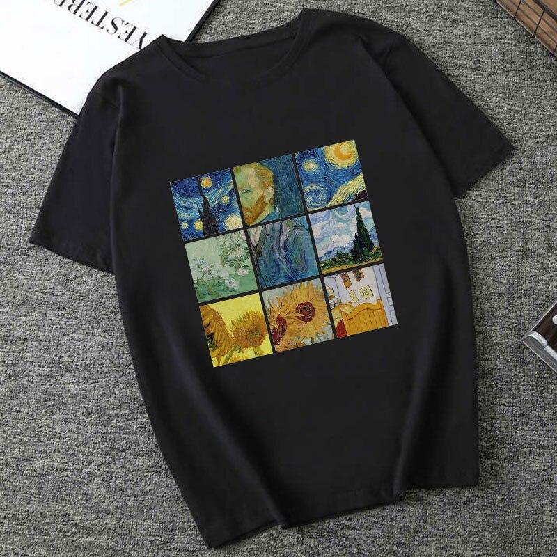 Gran oferta verano 2019 moda camiseta de Harajuku para mujer Vintage Van Gogh camisetas gráficas mujer cuello redondo manga corta Casual camiseta femenina