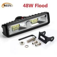 okeen super bright led work light 48w offroad car 4wd truck tractor boat trailer 4x4 suv atv 12v flood led light bar fog lamp