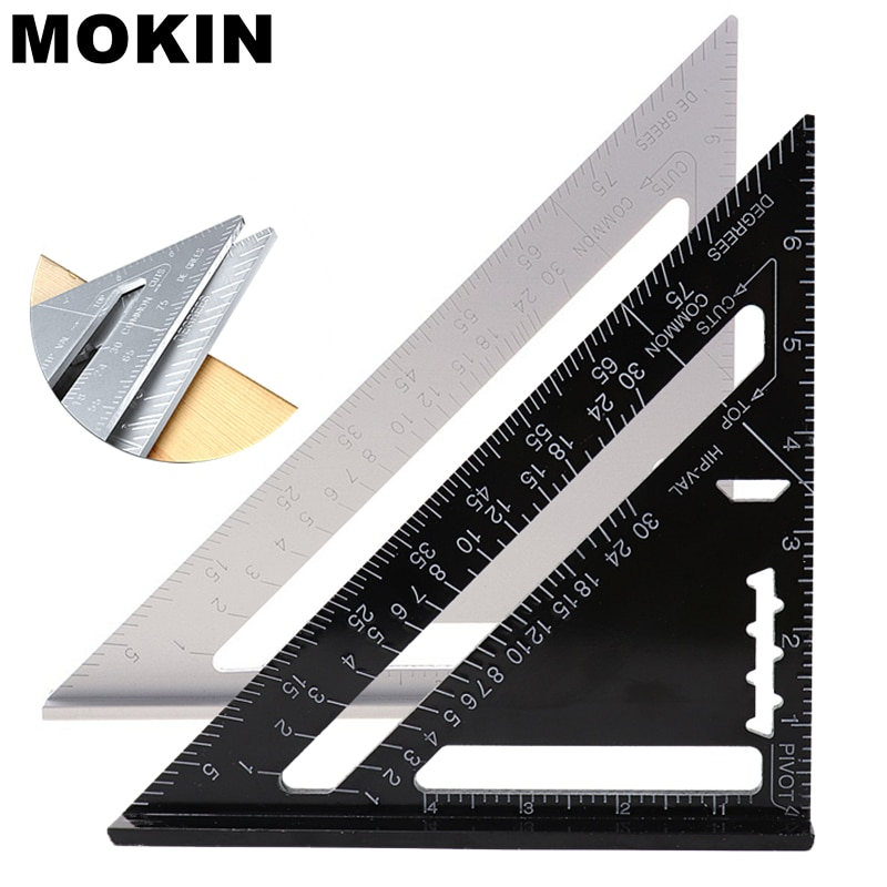 MOKIN 8''/200mm Triangle Ruler Aluminun Alloy Angle Ruler 90 Degree Protractor For Construction Artist Carpenter Measuring Tools
