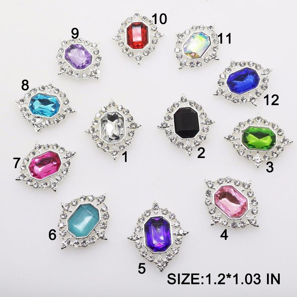 Vendas quentes 10 pçs/lote 1.2 polegada * 1.03 polegada liga de acrílico botão strass liso volta embelezamento broche diamante