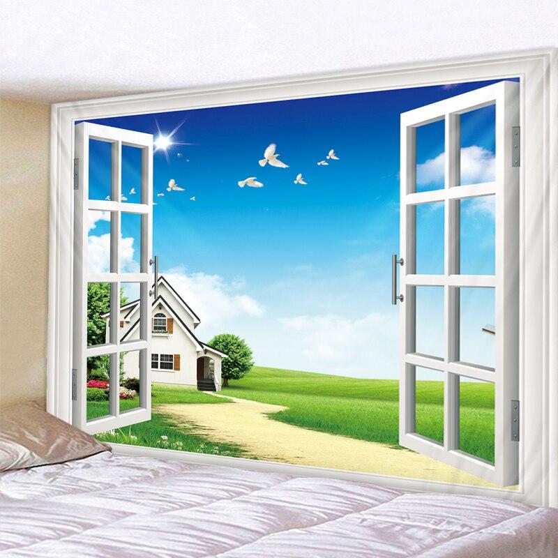 Красивый дом с травой, большие настенные гобелены, дешевые хиппи настенные Висячие богемные настенные гобелены, мандала, настенный художес...