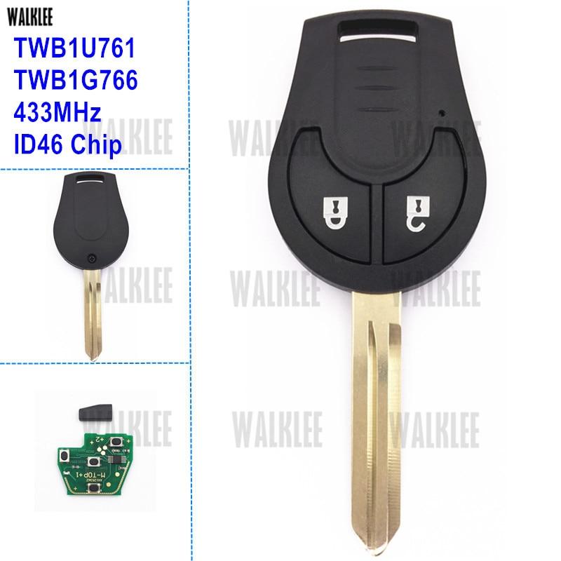 Дистанционный ключ WALKLEE Подходит для Nissan 433MHz для Note March Qashqai солнечное сильфи Tiida X-Trail TWB1U761 TWB1G766