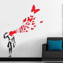 Freies Verschiffen Große Größe 100x130 cm Banksy Schmetterling Selbstmord Mädchen Vinyl Wandaufkleber Wandaufkleber Kunst Aufkleber Decals Wohnkultur