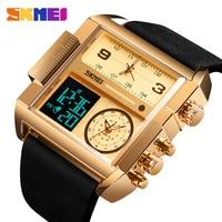 Men's Watch Waterproof Leather Strap Quartz Watches Men Luxury Brand Square Wristwatch Casual Clock Man reloj hombre SKMEI