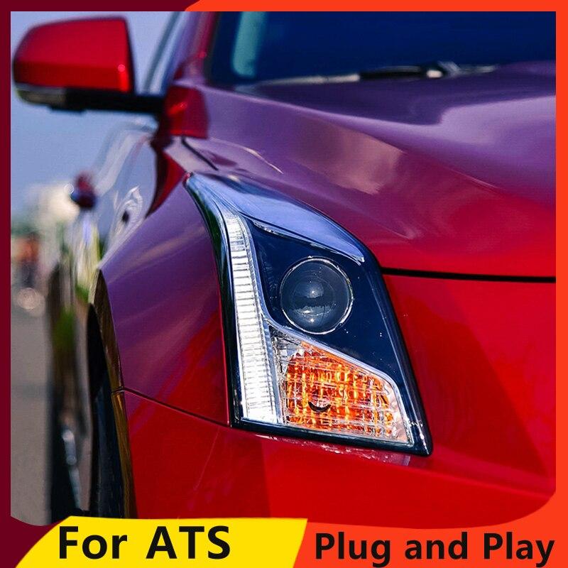 KOWELL Car Styling for Cadillac ATS Headlights 2014-2016 ATS LED Headlight DRL Bi Xenon Lens High Low Beam Parking Fog Lamp