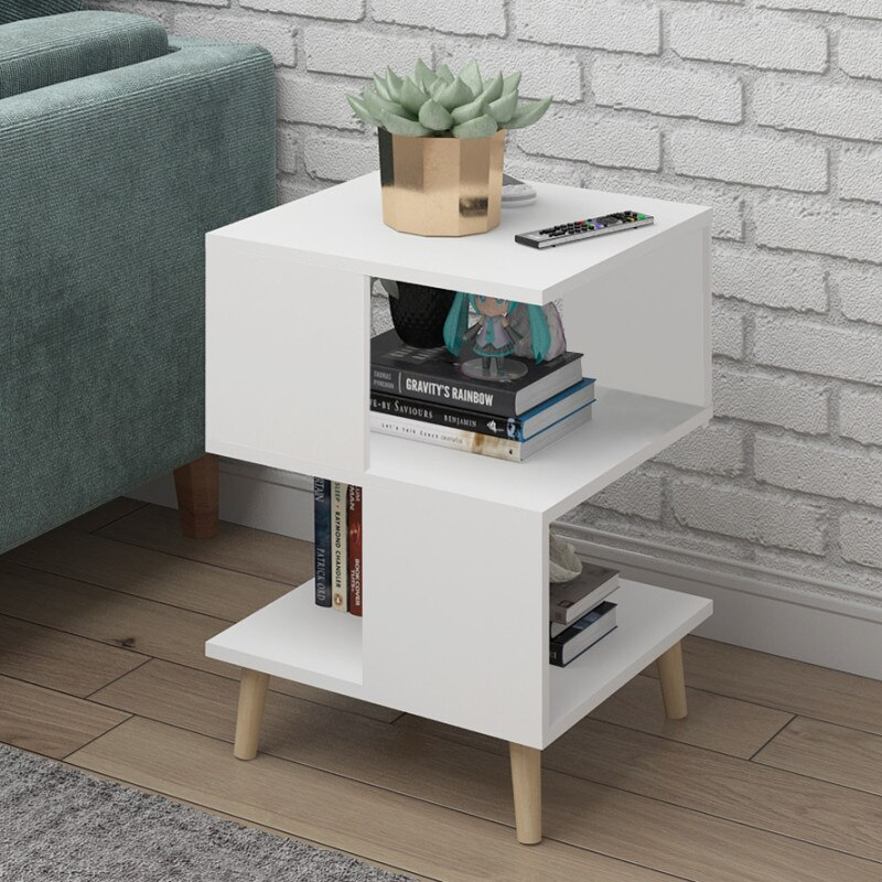 H sala de estar moderna mesa de centro de madera sólida pierna de almacenamiento Mesa flotante ventana mini hablar mesa de té dormitorio mesita de noche