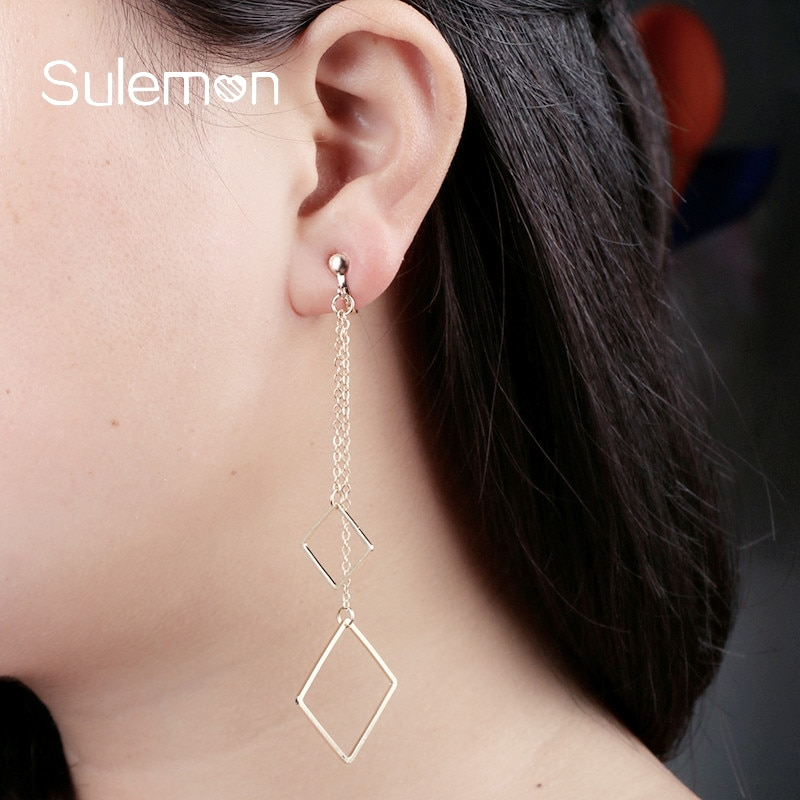 Rhombus Tassel Chain Clip On Earrings Women Girl Fashion No Ear Hole Earring Double Pendant Simple Style Geometric Jewelry CE44