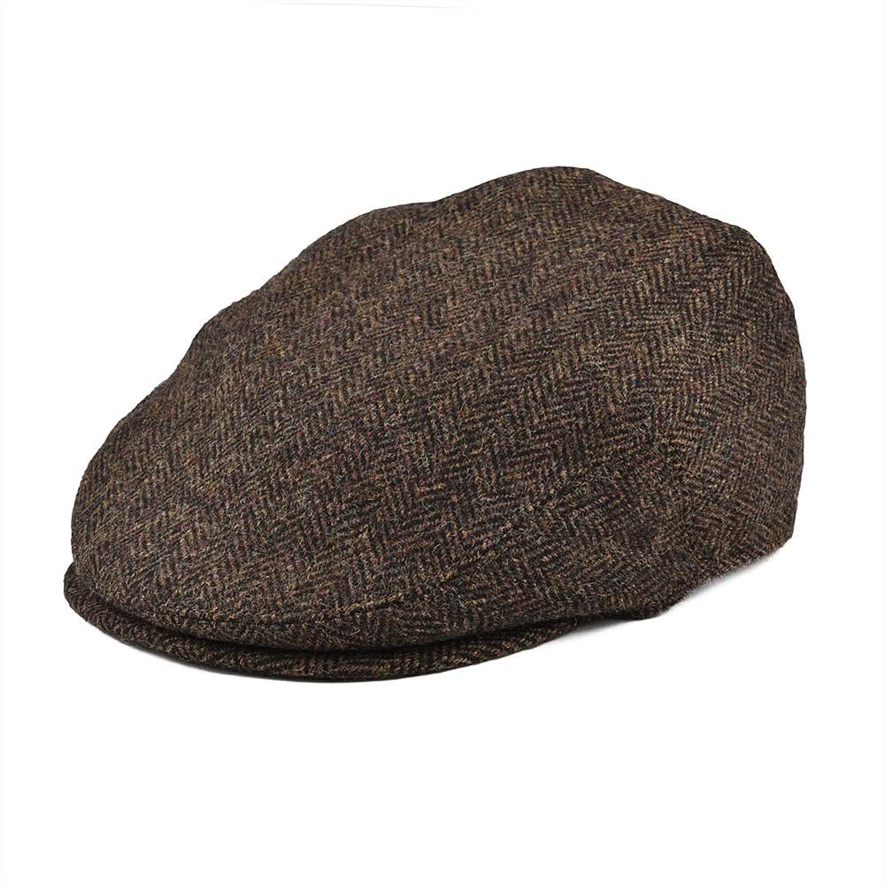 BOTVELA 100% Wool Flat Cap Men Large Size Tweed Irish Herringbone Gatsby Hat Golf Derby Newsboy Caps Coffee Brown 002